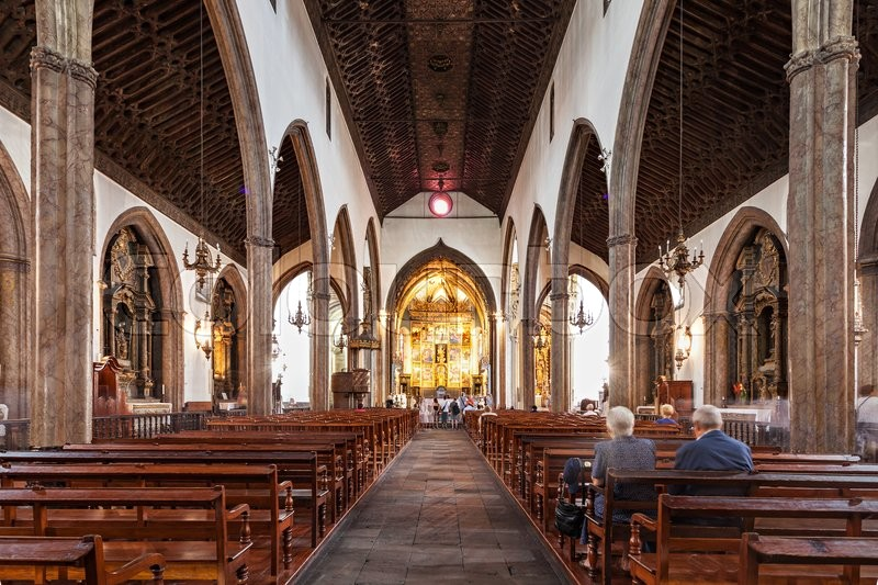 Editorial image of 'FUNCHAL, MADEIRA - JuLY 06: The Cathedral of Our Lady of the Assumption (Se Cathedral) on July 06, 2014 in Madeira, Portugal. '