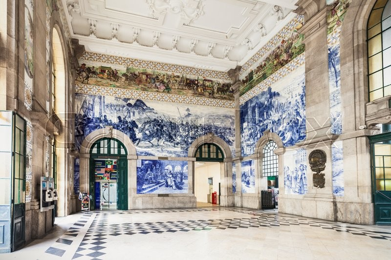 Editorial image of 'PORTO, PORTUGAL - JUNE 30: Sao Bento Railway Station on June 30, 2014 in Porto, Portugal'