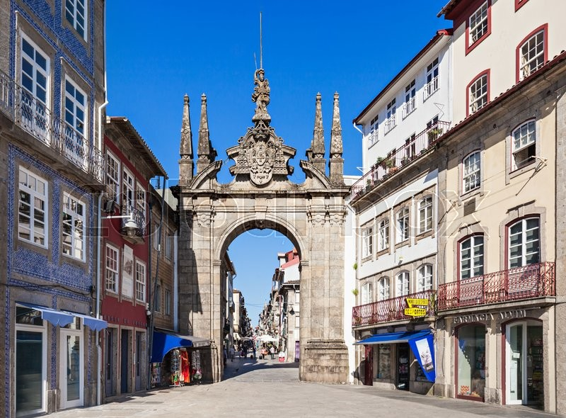 Editorial image of 'BRAGA, PORTUGAL - JULY 11: The Arch of Rua Souto, commonly referred as the Arco da Porta Nova, an 18th-century ceremonial arch on July 11, 2014 in Braga, Portugal'