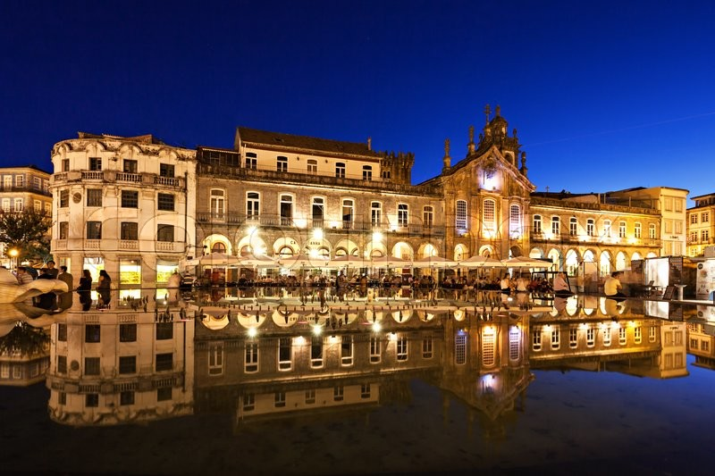 Editorial image of 'BRAGA, PORTUGAL - JULY 12: Republic square (Praca da Republica) on July 12, 2014 in Braga, Portugal'
