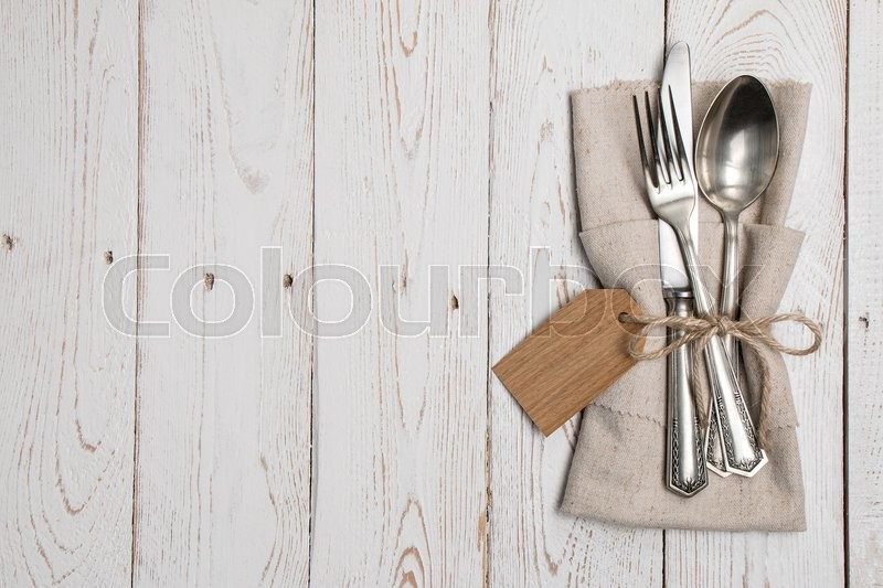 Stock image of 'cutlery, silver, meal'