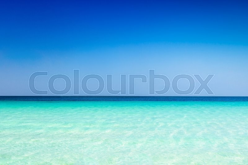 Stock image of 'Turquoise sea water and blue sky background'