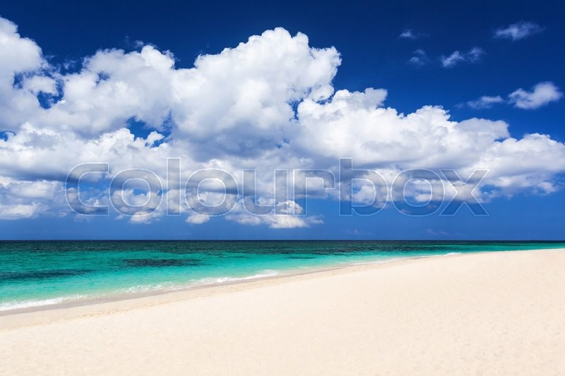 Stock image of 'Nobody on the beauty beach with turquoise water'