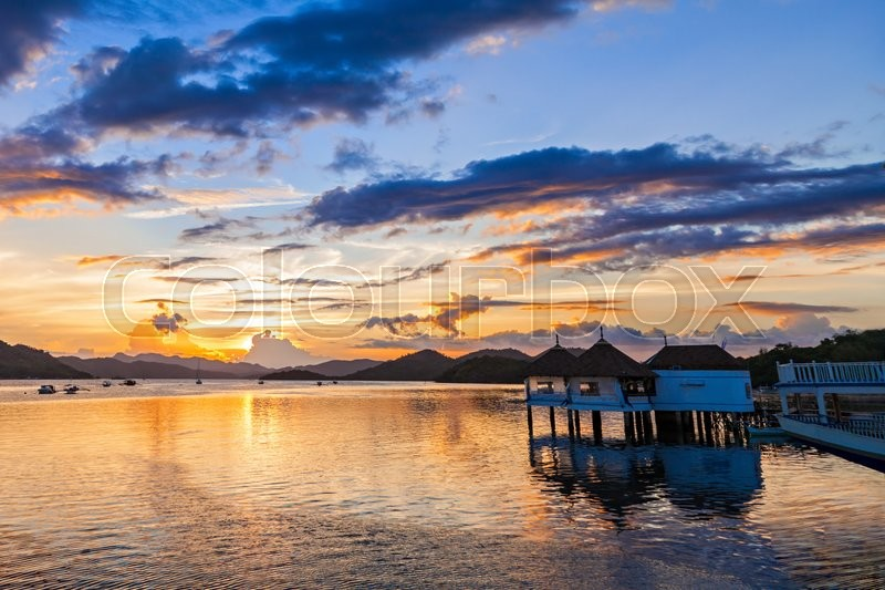 Stock image of 'Amazing sunset at the sea, Coron, Philippines'