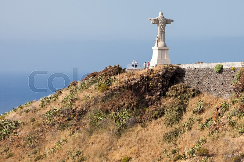 Stock image of 'The Christ the King statue is a Catholic monument on Madeira island, Portugal'