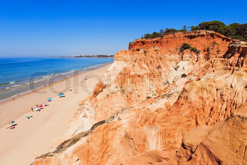 Stock image of 'Falesia beach in Albufeira, Algarve region, Portugal'