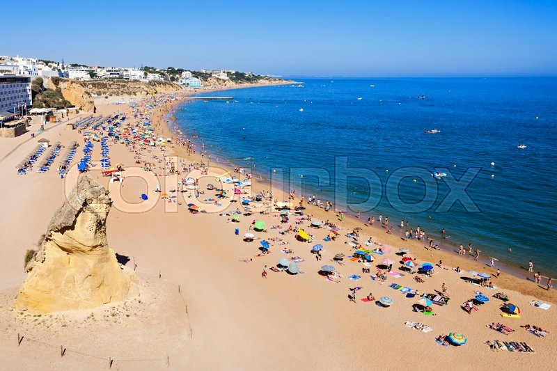 Stock image of 'Albufeira city beach, Algarve region, south Portugal'