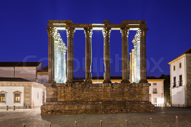 Stock image of 'The Roman Temple of Evora (Templo romano de Evora), also referred to as the Templo de Diana is an ancient temple in the Portuguese city of Evora '
