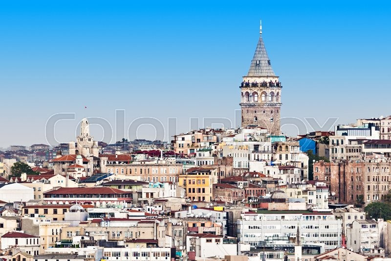 Stock image of 'The Galata Tower is a medieval stone tower in Istanbul, Turkey'