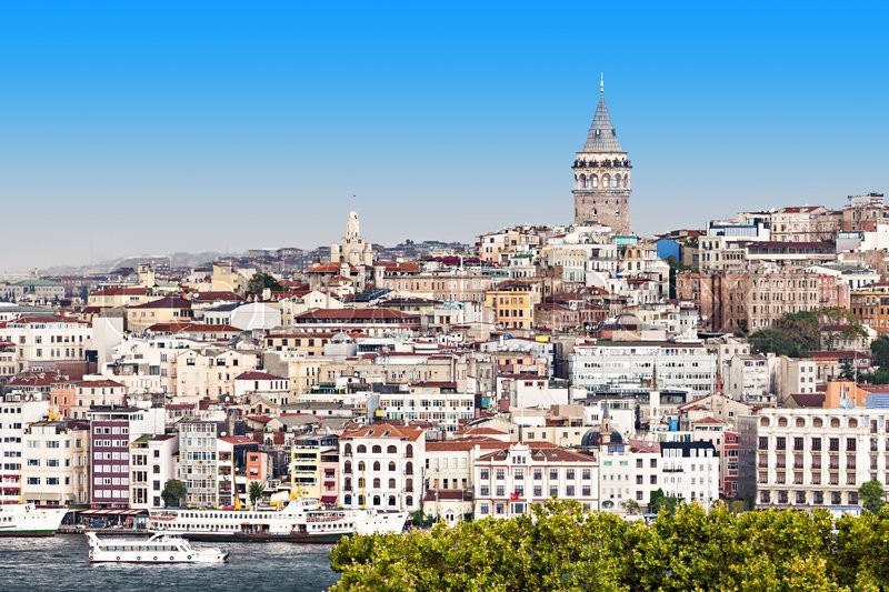 Stock image of 'The Galata Tower (Galata Kulesih) — called Christea Turris by the Genoese is a medieval stone tower in Istanbul, Turkey'