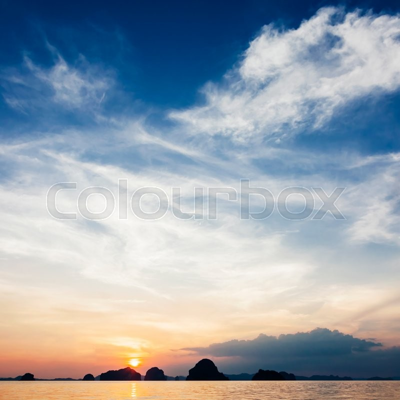 Stock image of 'Very beautiful sea sunset with islands on background'