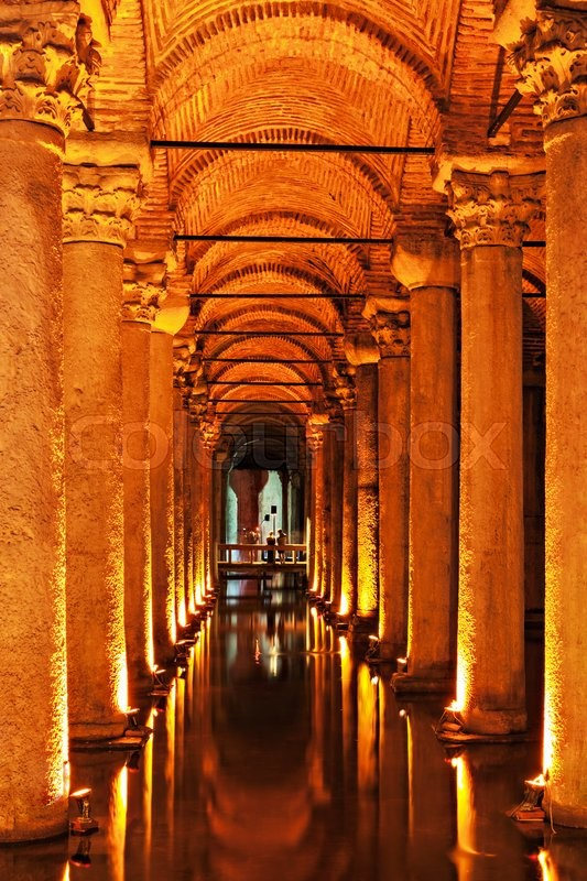 Stock image of 'The Basilica Cistern (Turkish: Yerebatan Sarayi - Sunken Palace), is the largest of several hundred ancient cisterns that lie beneath the city of Istanbul, Turkey.'