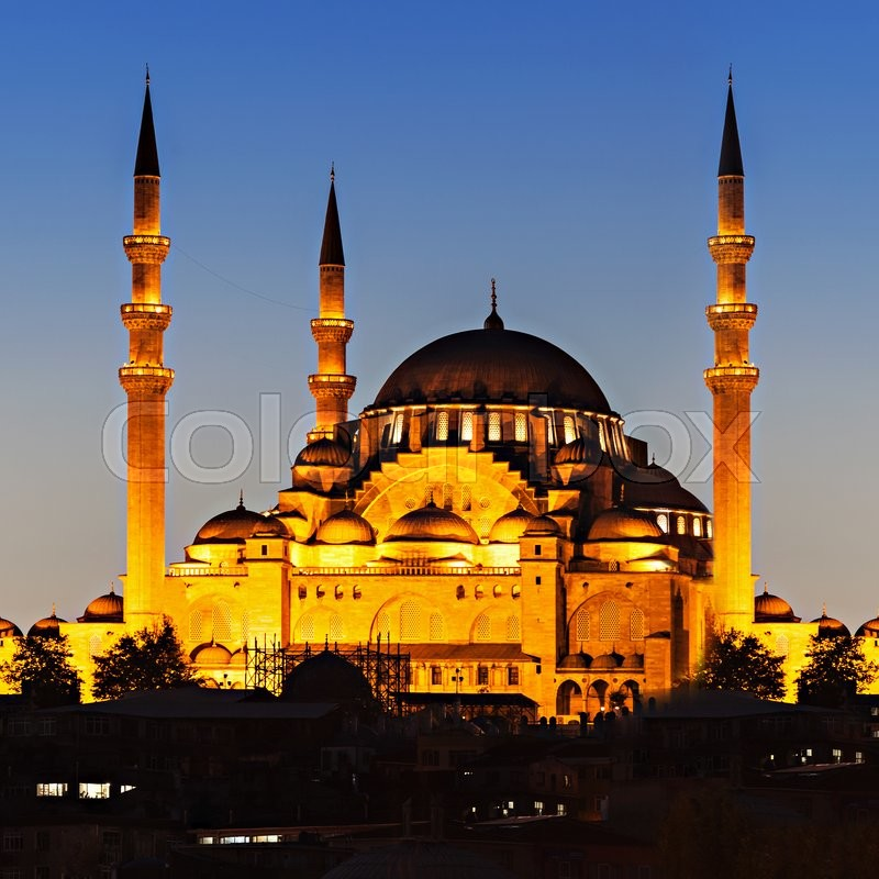 Stock image of 'The Suleymaniye Mosque is an Ottoman imperial mosque in Istanbul, Turkey. It is the largest mosque in the city.'