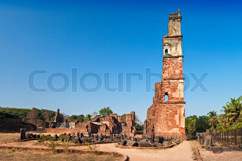Stock image of 'Augustine ruins in Old Goa, Goa state, India'