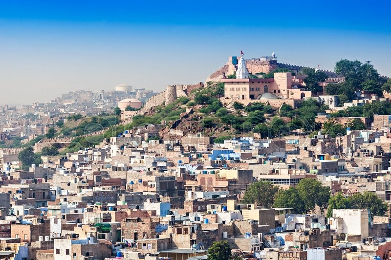 Stock image of 'View of Jodhpur, the Blue City, from Mehrangarh Fort, Rajasthan, India'