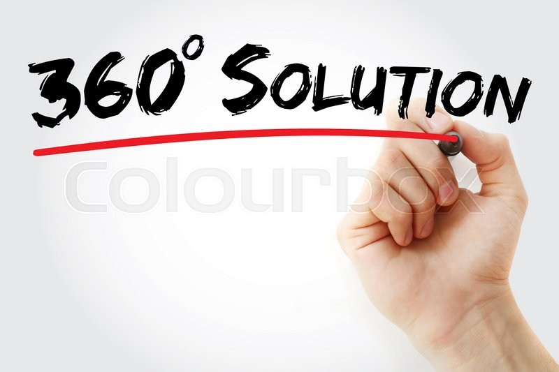 Stock image of 'Hand writing 360 degree solution with red marker, business concept'