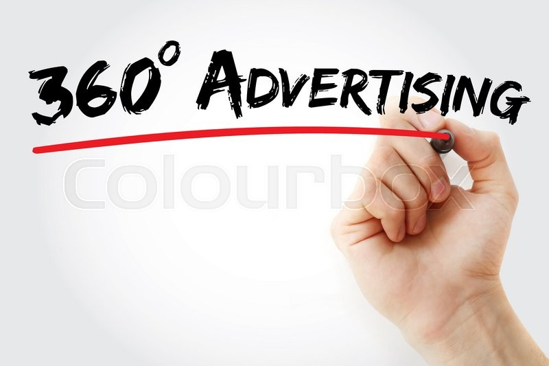 Stock image of 'Hand writing 360 degrees Advertising with marker, business concept'