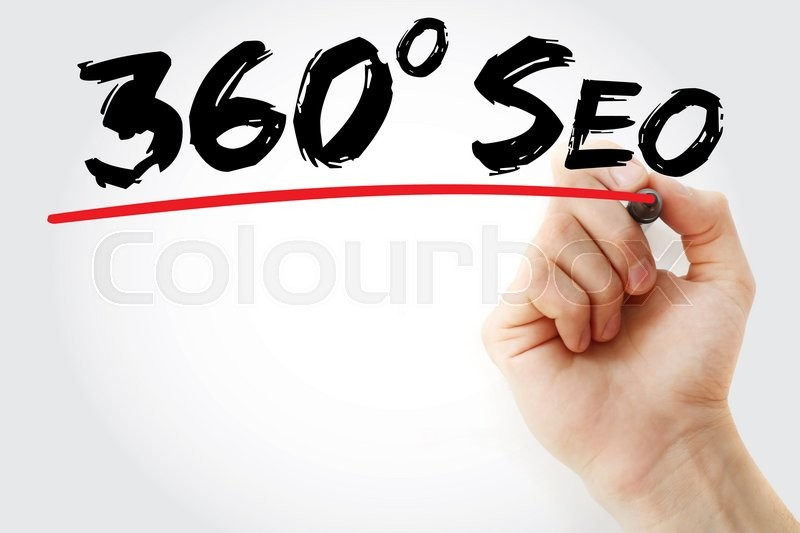 Stock image of 'Hand writing 360 degrees SEO with marker, business concept'