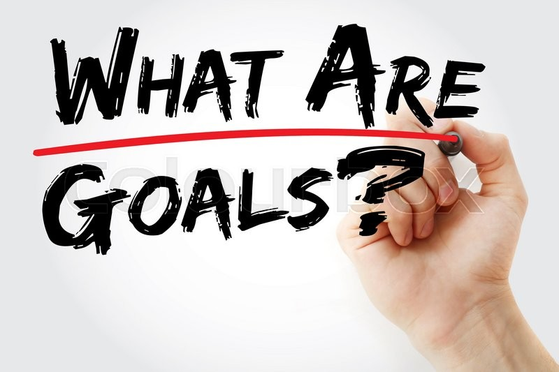 Stock image of 'Hand writing What are your goals? with red marker, business concept'