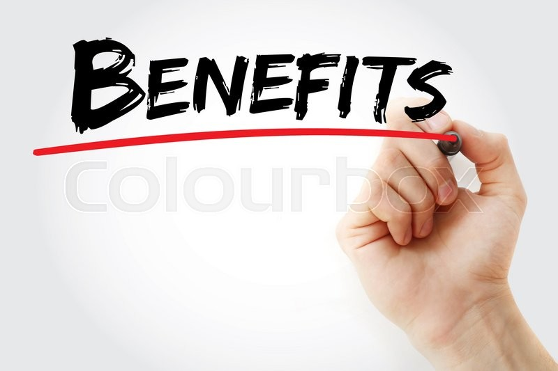 Stock image of 'Hand writing Benefits with marker, business concept'