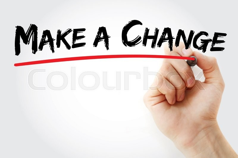 Stock image of 'Hand writing Make a Change with marker, business concept'