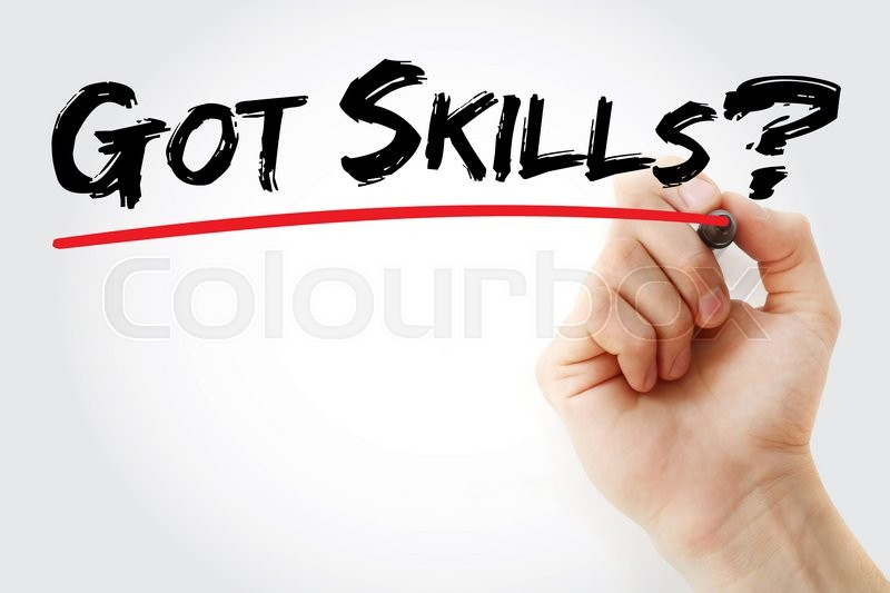 Stock image of 'Hand writing Got Skills? with marker, business concept'