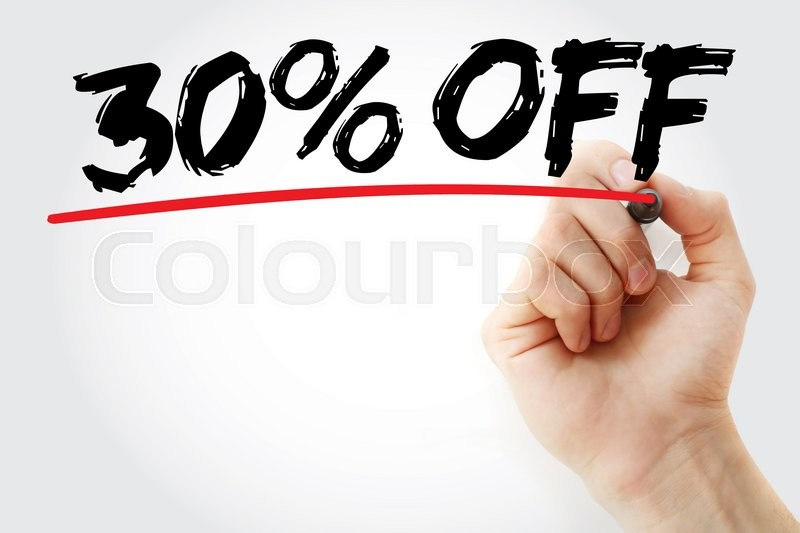 Stock image of 'Hand writing 30% Off with marker, sale business concept background'