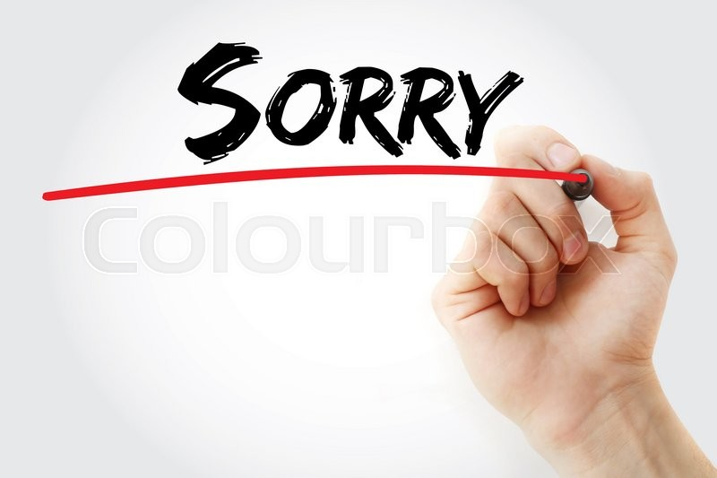 Stock image of 'Hand writing Sorry with marker, concept'