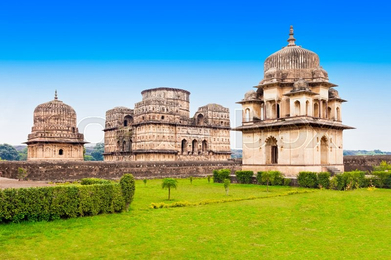 Stock image of 'Chhatris or Cenotaphs are dome shaped structure built in 17th century for a long memory about raja of Orchha city.'