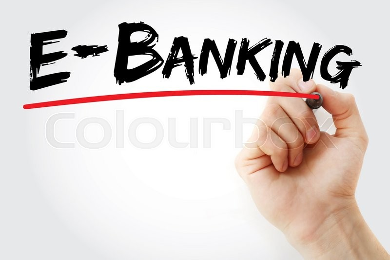 Stock image of 'Hand writing E-Banking with marker, business concept'