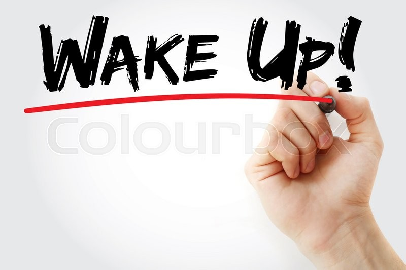 Stock image of 'Hand writing Wake Up! with marker, business concept'