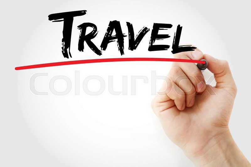 Stock image of 'Hand writing Travel with marker, business concept'