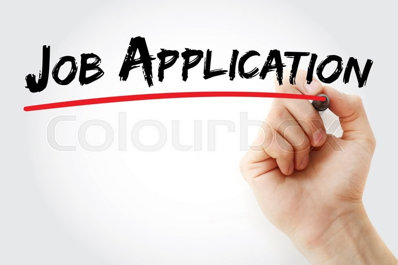 Stock image of 'Hand writing Job Application with marker, business concept'