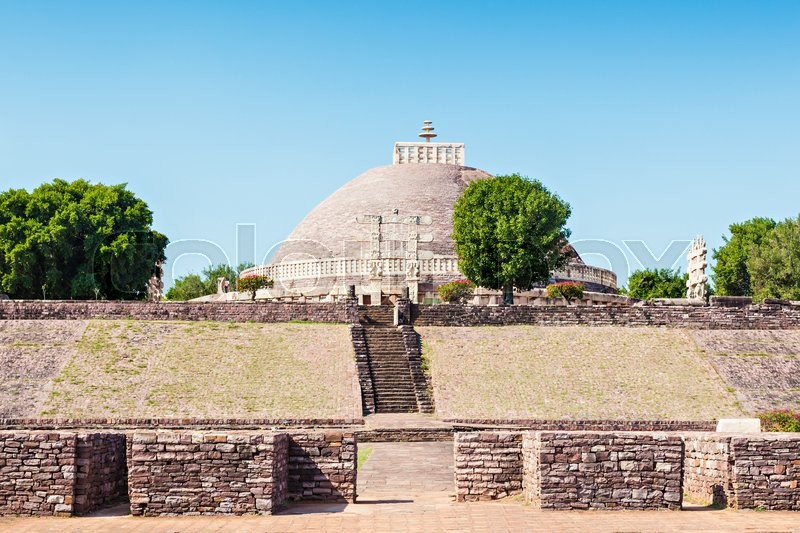 Stock image of 'Sanchi Stupa is located at Sanchi Town, Madhya Pradesh state in India'