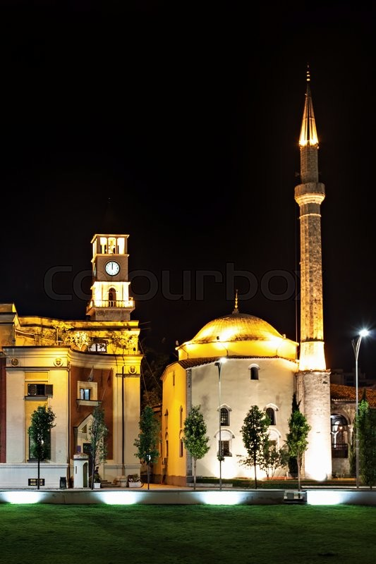 Stock image of 'Clock Tower and Mosque in the center, Tirana, Albania'