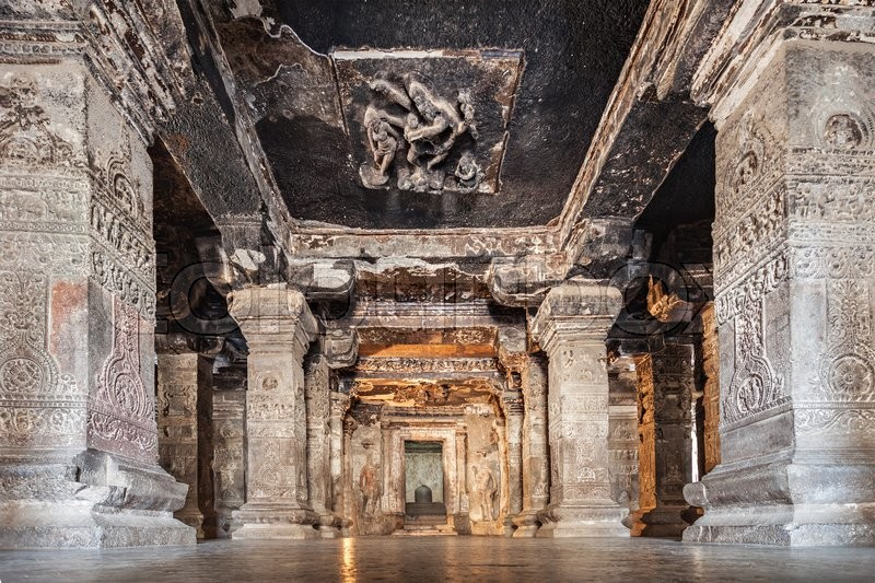 Stock image of 'Ellora caves near Aurangabad, Maharashtra state in India'