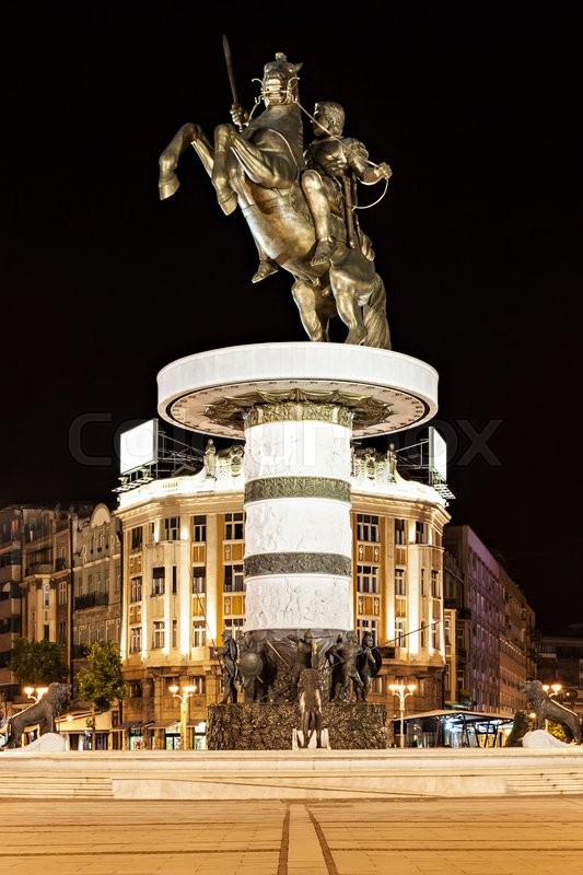 Stock image of 'Warrior on a Horse statue (Alexander the Great), Skopje'
