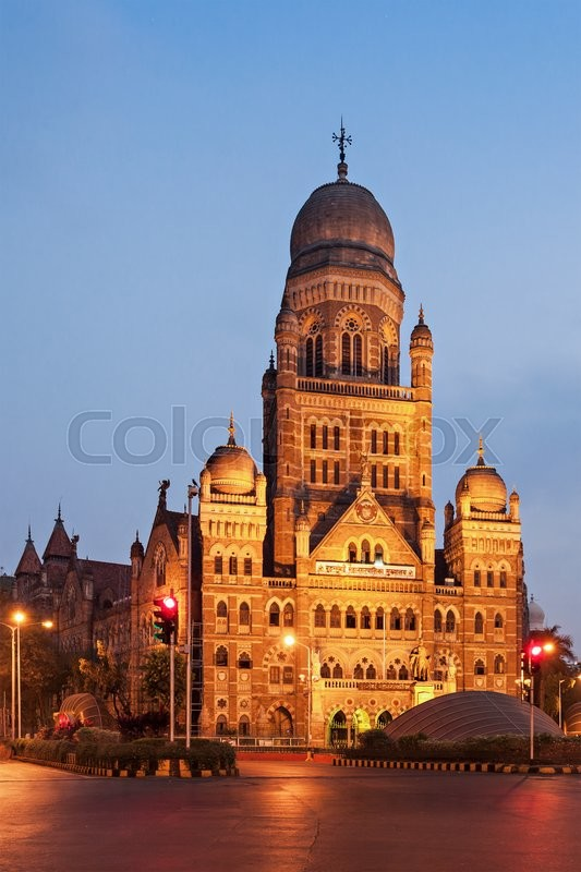 Editorial image of 'MUMBAI, INDIA - FEBRUARY 21: The Municipal Corporation Building on Febuary 21, 2014 in Mumbai, India'