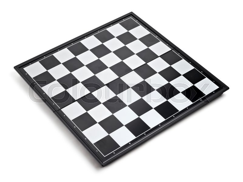 Stock image of 'Empty chess board isolated on white background'