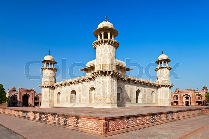 Stock image of 'Itimad-ud-daulah, Tomb of Mizra Ghiyas beg, at sunset, Agra, Uttar Pradesh, India.'