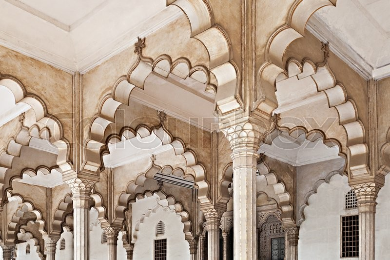 Stock image of 'Many arches inside Red Fort, Agra, India'