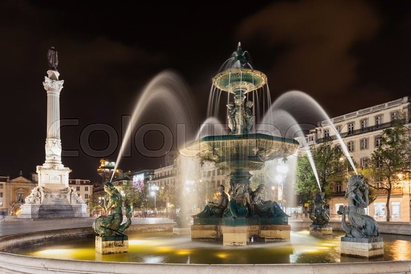 Stock image of 'Rossio Square (Pedro IV Square) in the city of Lisbon, Portugal'