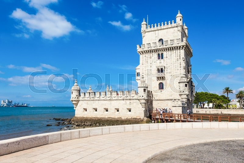 Stock image of 'Belem Tower is a fortified tower located in the civil parish of Santa Maria de Belem in Lisbon, Portugal'