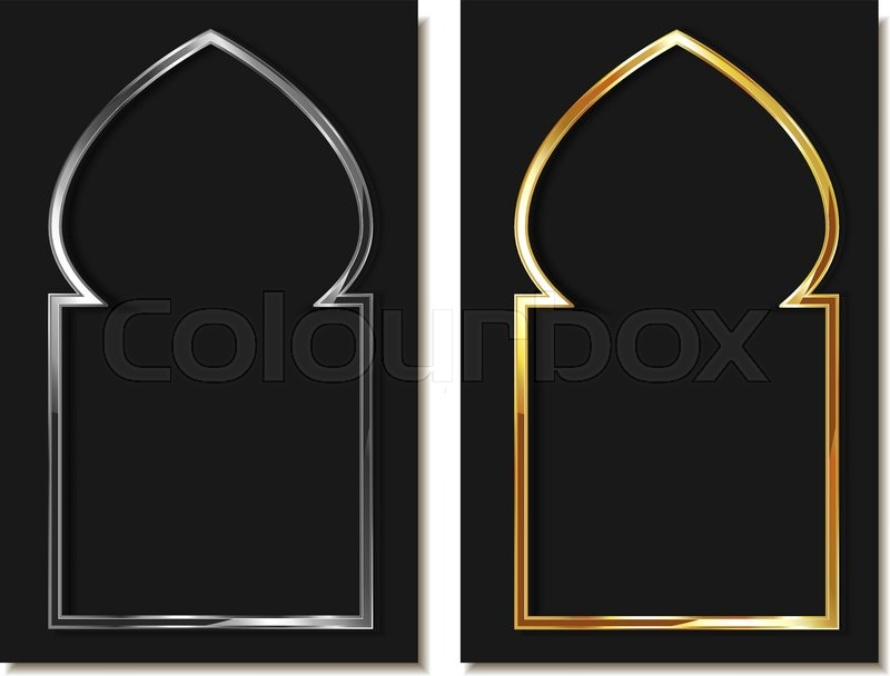 Eastern style metallic arc in gold and silver. Element of