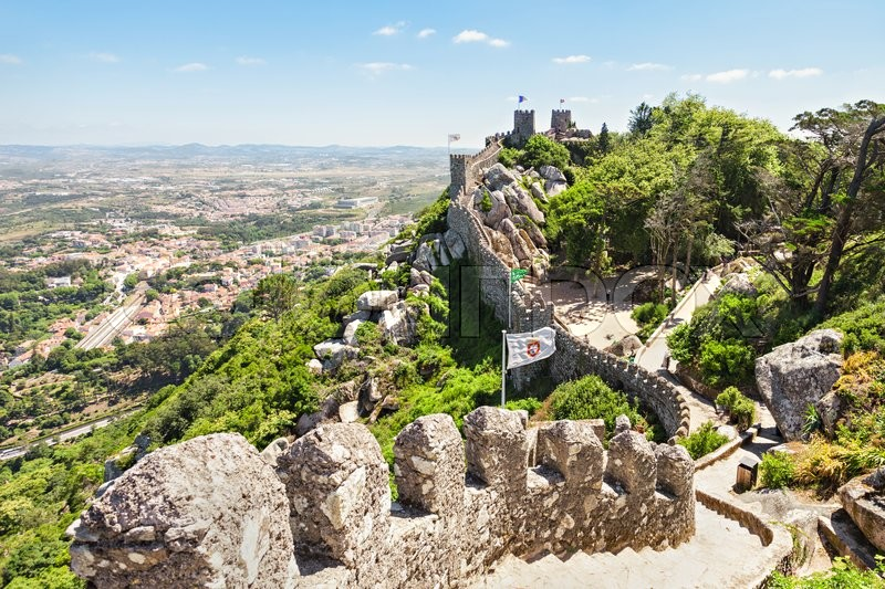 Stock image of 'The Castle of the Moors is a hilltop medieval castle in Sintra, Portugal'