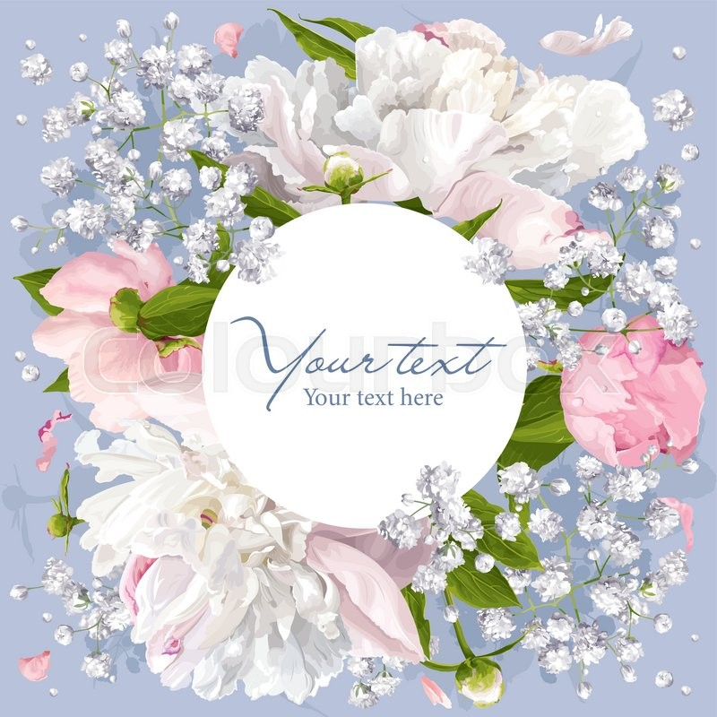 Romantic flower invitation or greeting card for weddings romantic flower invitation or greeting card for weddings valentines day and other events with peonies leaves gypsophila and round white label mightylinksfo