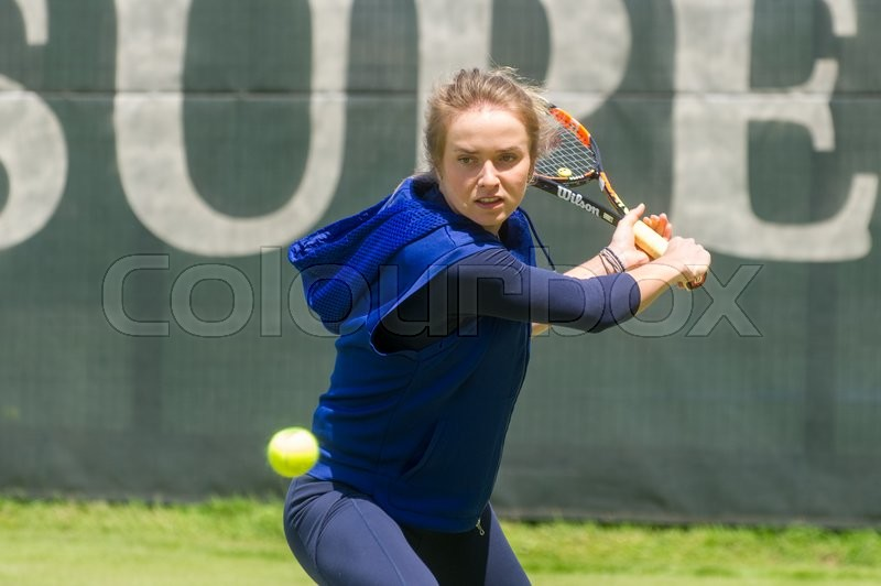 Editorial image of 'Ukrainian tennis player Elina Svitolina (born in 1994), ranking 19th in WTA, gave a press conference and an open training session in Kharkiv on June 7, 2016.'