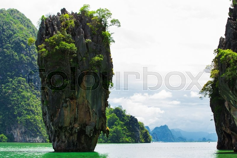 Stock image of 'Thailand James Bond stone Island, Phang Nga'