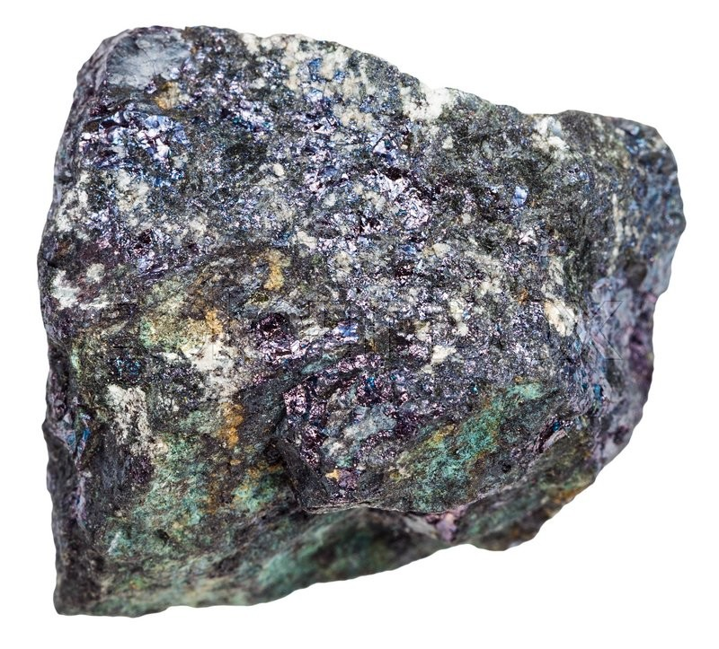 Stock image of 'macro shooting of natural rock - iridescent bornite mineral stone (peacock ore) isolated on white background'