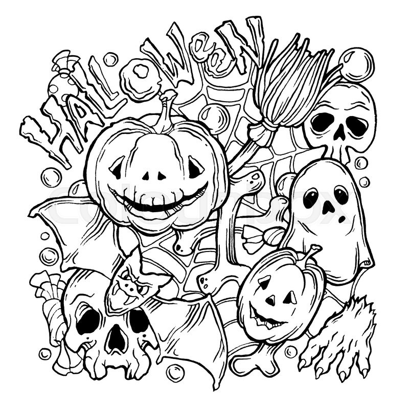 Stock image of 'Card for Halloween with ghost, pumpkins, paw, bat and broom. Black and white'